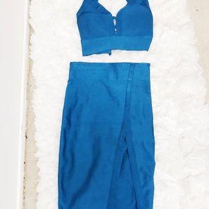 Blue bandage midi dress separates